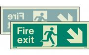 439DSK/R - DOUBLE-SIDED FIRE EXIT SIGN DOWN TO THE RIGHT OR DOWN TO THE LEFT 150 x 400mm